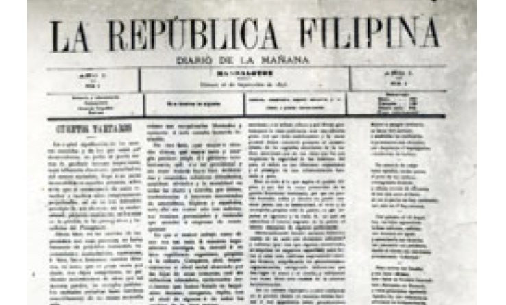 La Republica Filipina was published September 15, 1898 in Mandaluyong