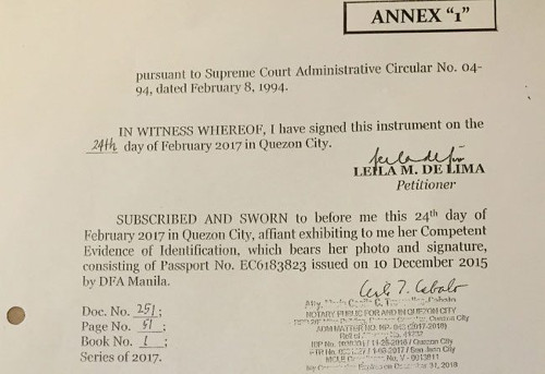 De Lima falsified her petition before Supreme Court - Solicitor General