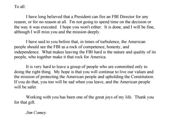 Comey's farewell letter to the FBI