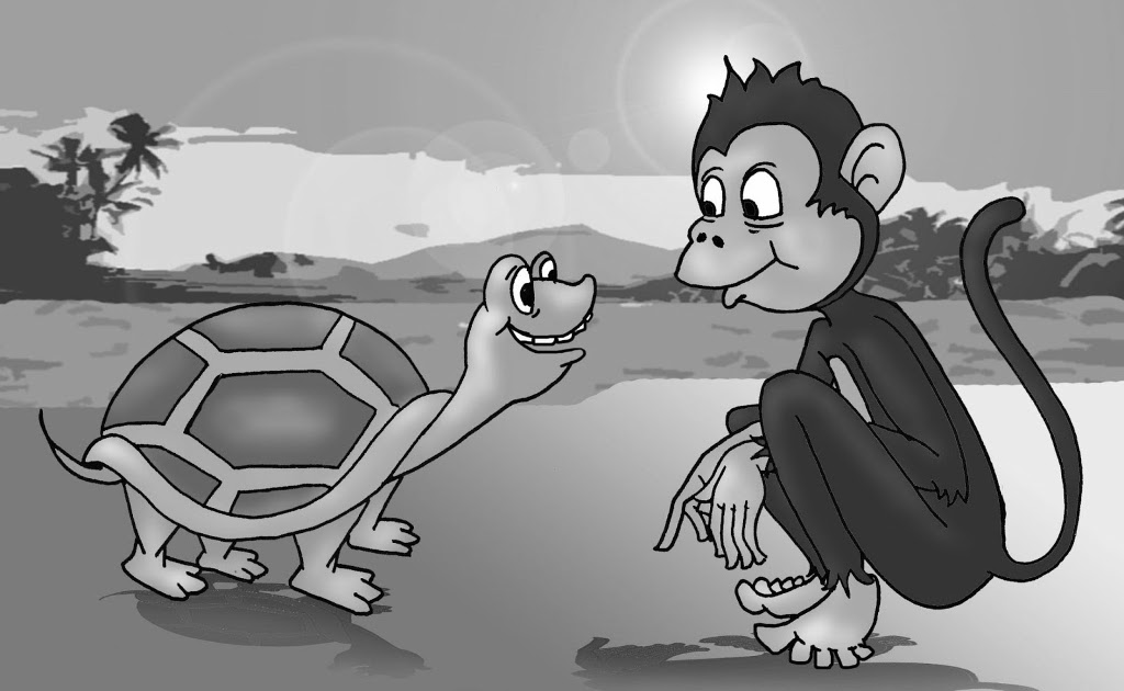 monkey and turtle The turtle decided to cut the dead monkey into pieces and sold his meat to other monkeys the other monkeys decided to throw turtle into the water the turtle sunk to the bottom but soon.