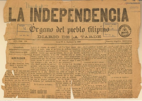 La Independencia came out its first issue on September 3, 1898