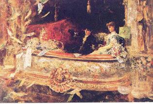 En el Balcon, 1884 by Juan Luna