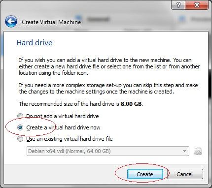 Create virtual hard drive,  Step 3