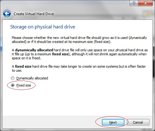 Storage on virtual hard drive, step 5