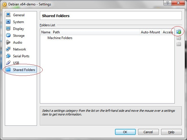 Configure VirtualBox shared folders Step 1