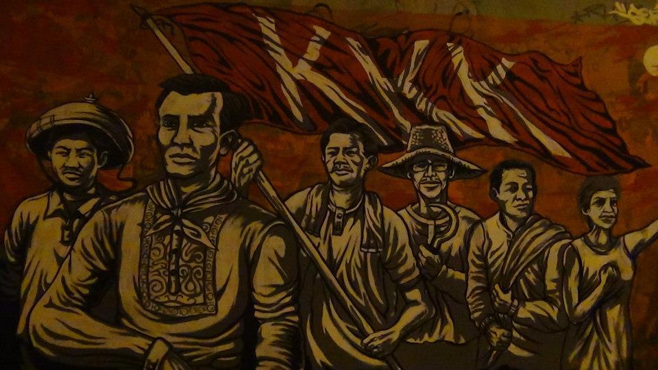 Deportation of rizal was made public katipunan founded for Bonifacio mural painting