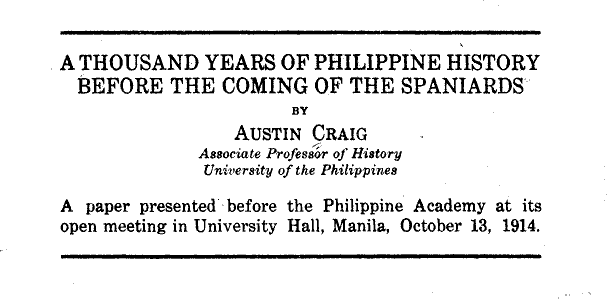 A thousand years of Philippine history before the coming of the Spaniards