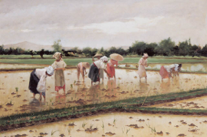 Women planting rice. Oil on canvas, 1902.