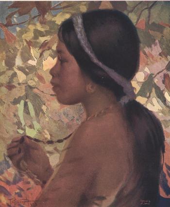 Ifugao Girl, oil, by Fernando Amorsolo
