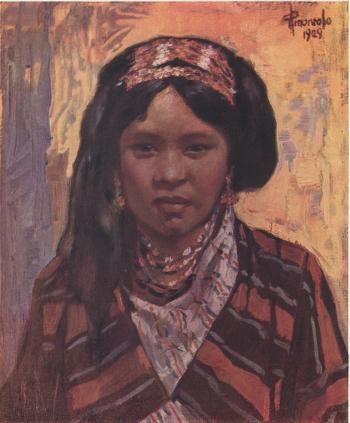 Igorot Girl, oil, by Pablo Amorsolo