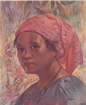 Ilocano Girl, pastel, by I. L. Miranda