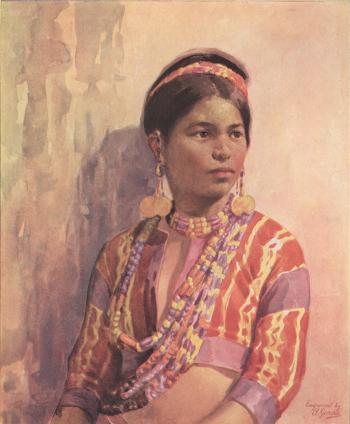 Kalinga Girl, water color, by Fernando Amorsolo
