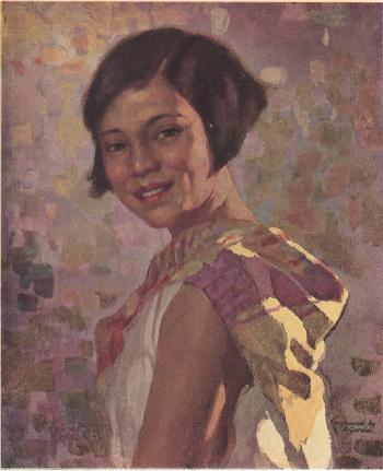 Modern Manila Girl, painted in oil by Fernando Amorsolo