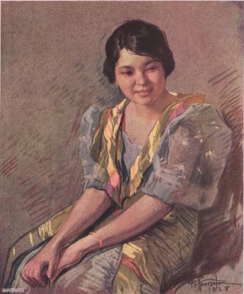 Pampanga Girl, pastel, by Fernando Amorsolo