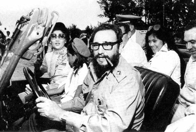 Cuban President Fidel Castro tours First Lady Imelda Marcos and daughter Imee during their visit in 1978.
