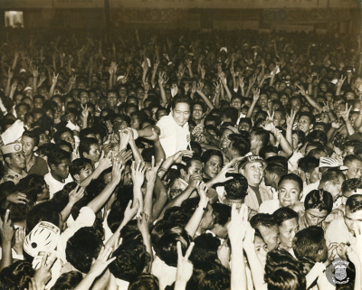 Re-electionist President Ferdinand E. Marcos during his campaign for the Presidential Elections of 1969 (Source: National Library of the Philippines)