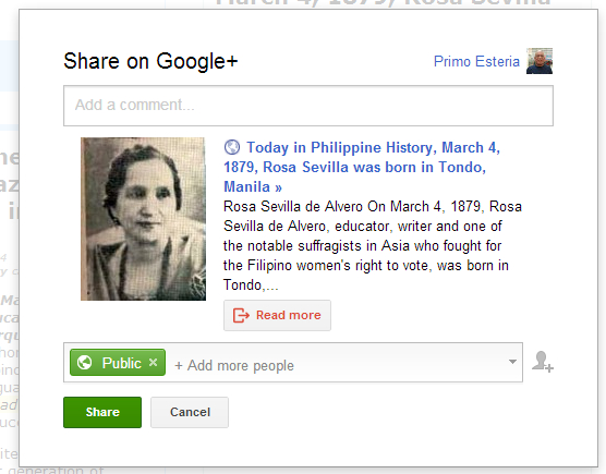 Prompt to Google+ interactive post