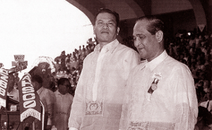 Ramon Magsaysay and Carlos P. Garcia at the Quirino Grandstand for their inauguration on December 30, 1953.