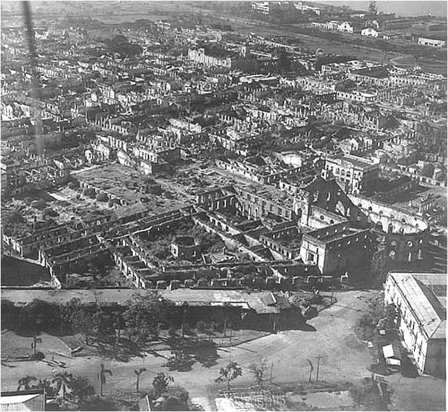 Aerial view of the devastated Manila in May 1945