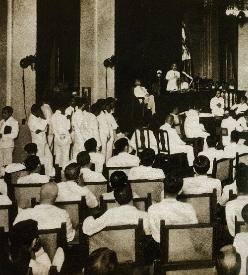 The opening of the Constitutional Convention in the House session hall of the Legislative Building in 1934