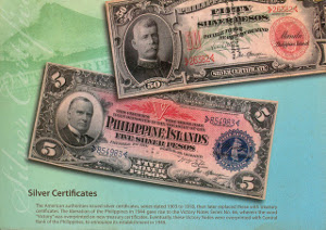 The American authorities issued silver certificates                            series dated 1903 to 1918, then later replaced these with treasury certificates