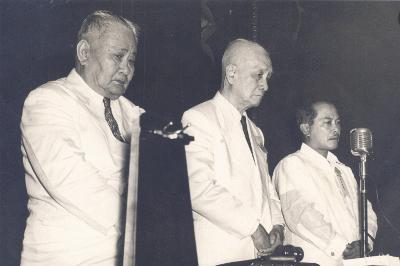 Senate President Eulogio Rodriguez, Former President Sergio Osmeña and Speaker Jose B.   Laurel Jr