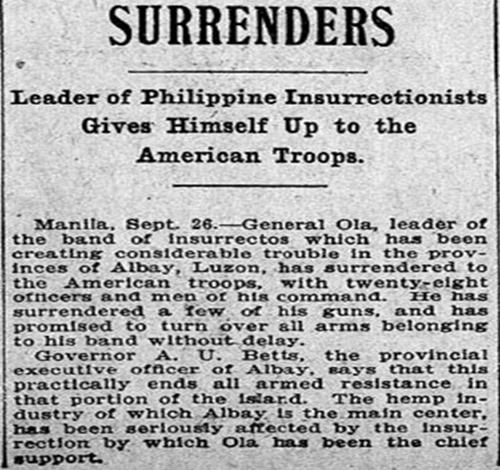 General Ola surrendered to Colonel Banholtz September 25, 1903