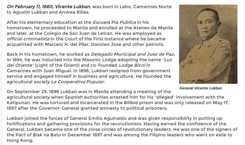 Vicente Lukban was born in Labo, Camarines Norte February 11, 1860